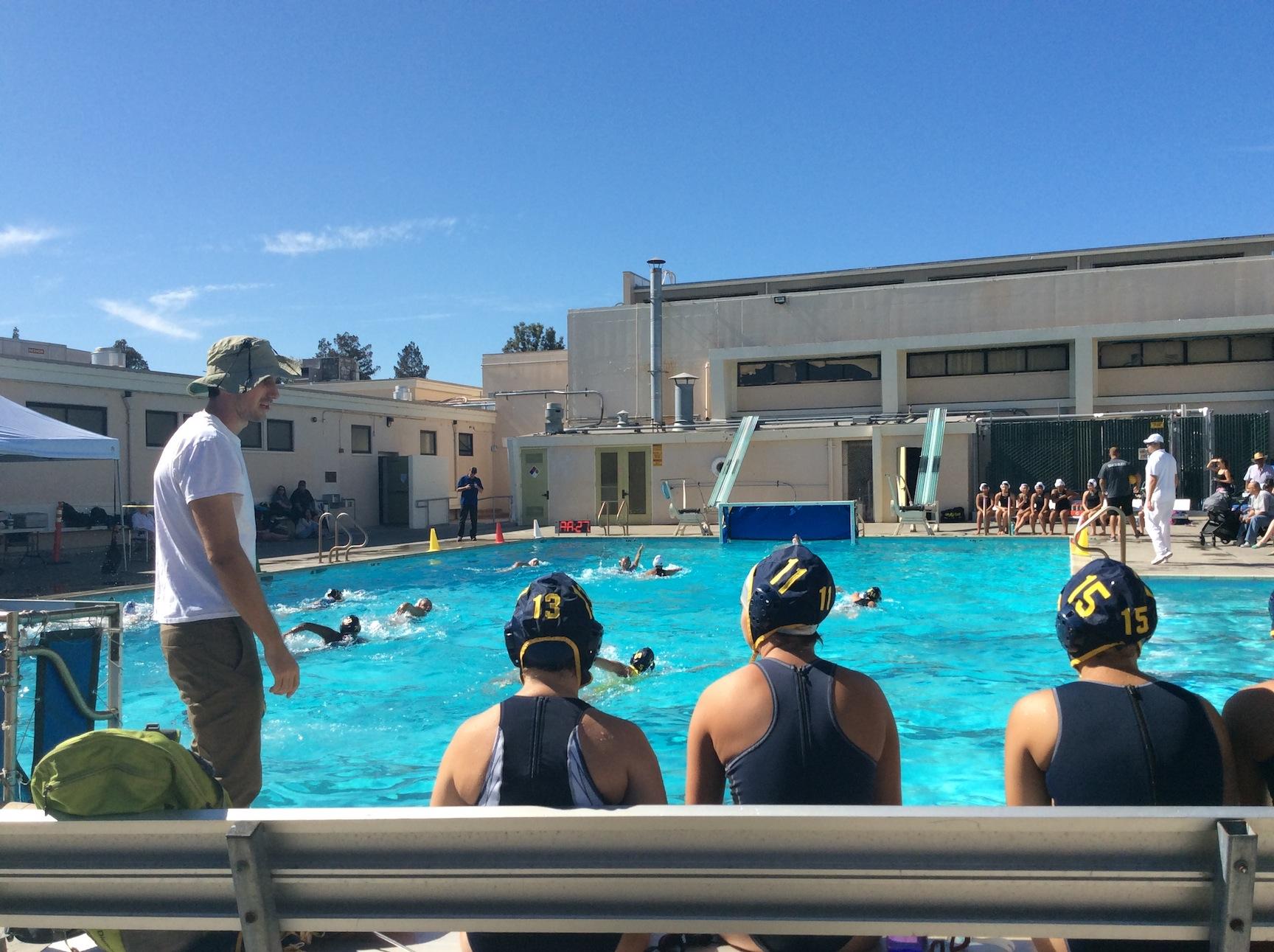 Coach Macko instructing his team. (Alicia Gomez/ Lincoln Lion Tales)