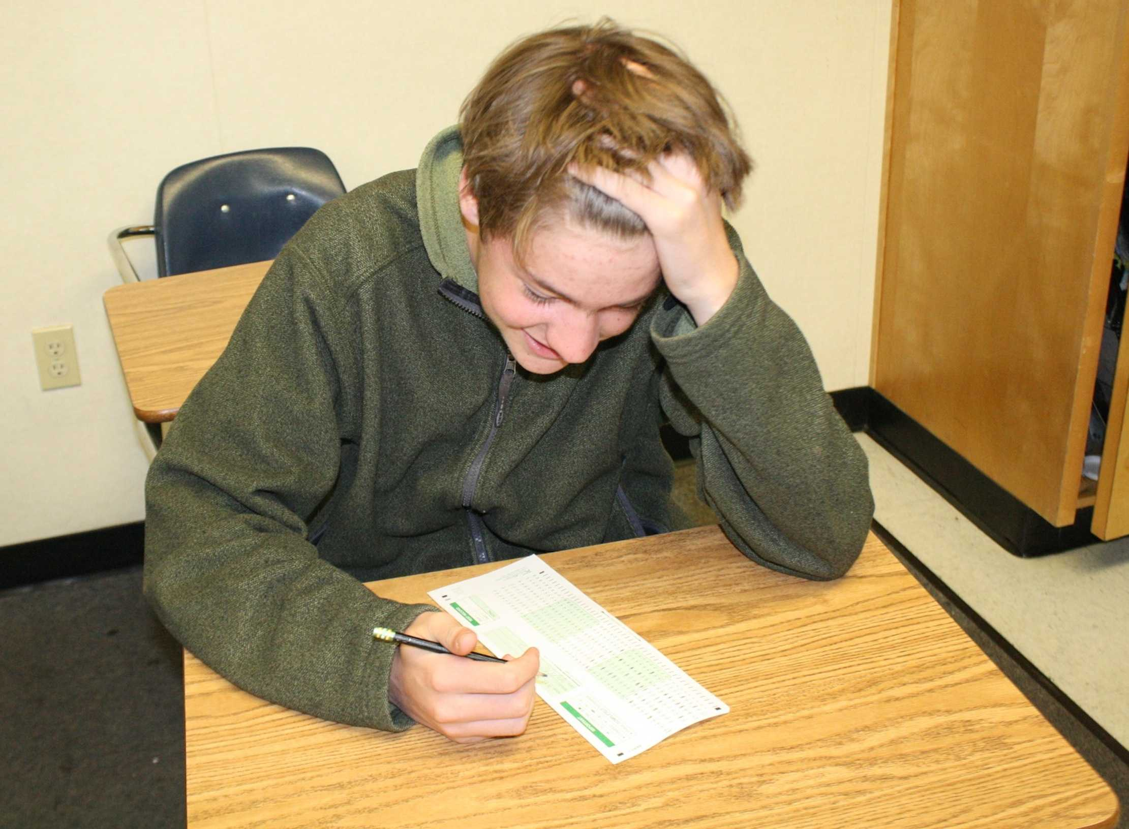 Like this student, kids often agonize over all the standardized tests they are required to take.