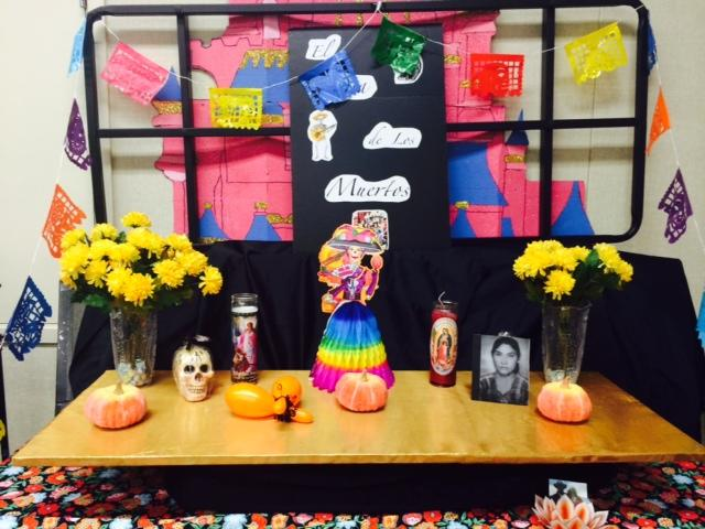 A table set up in honor of Day of the Dead