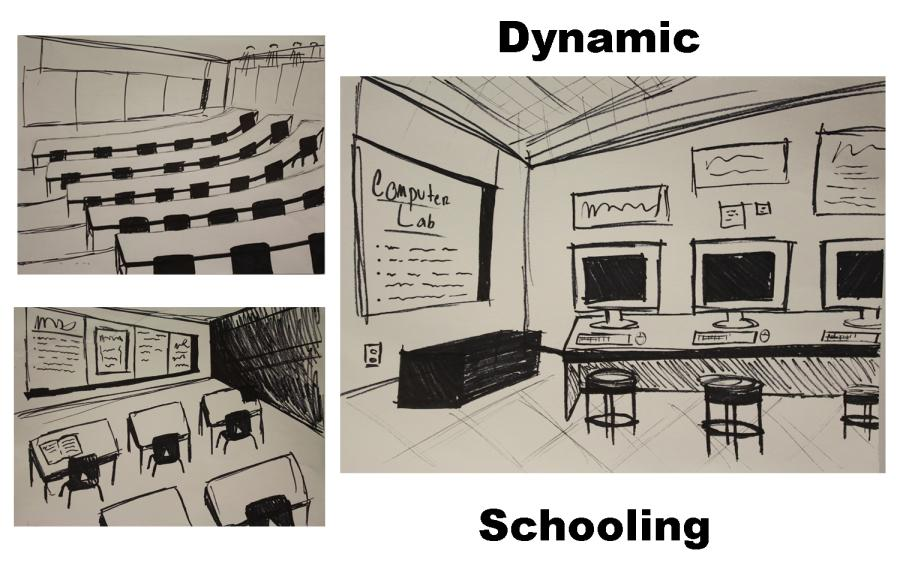 Students getting prepared for college, while improving their ways of learning. That is what Dynamic Schooling is supposed to be like. (Drawings by Meagan Lomboy and Kamilah Abdubek).