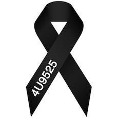 This Black Ribbon became a symbol for the tragedy. A lot of Germans put it as their Social Media picture as well. The number is the flight number of the plane.   (http://www.stadt-koeln.de/img/responsive/bilder-oberbuergermeister-schleife_flugnummer4u9525_320x213_1024.jpg / April 2, 2015)