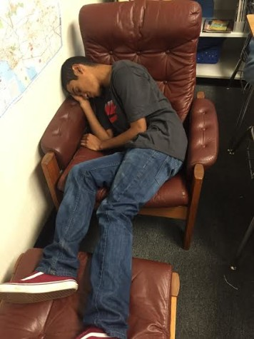 William Quevedo sleeps through class(Jordan Summers/Lion Tales)