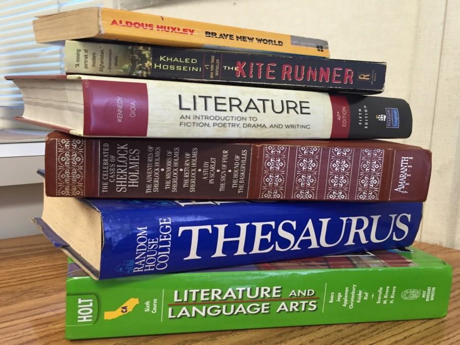 A tall stack of textbooks (Fallon Ramirez-Lara/Lincoln Lion Tales)