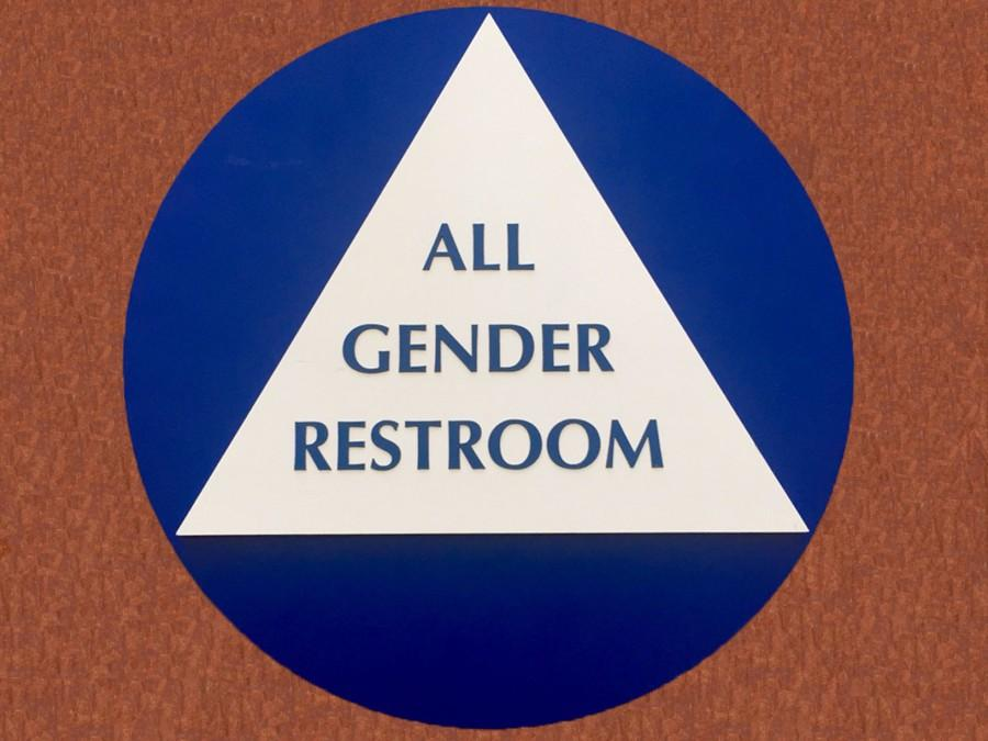 The new sign indicating that a bathroom is