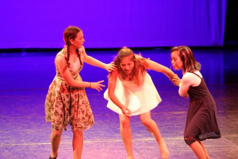 Emily Emmons, Ava Fein, and Mallory Malate (left to right) performing at Our Steps in October, 2018. (courtesy of The Monarch Yearbook)