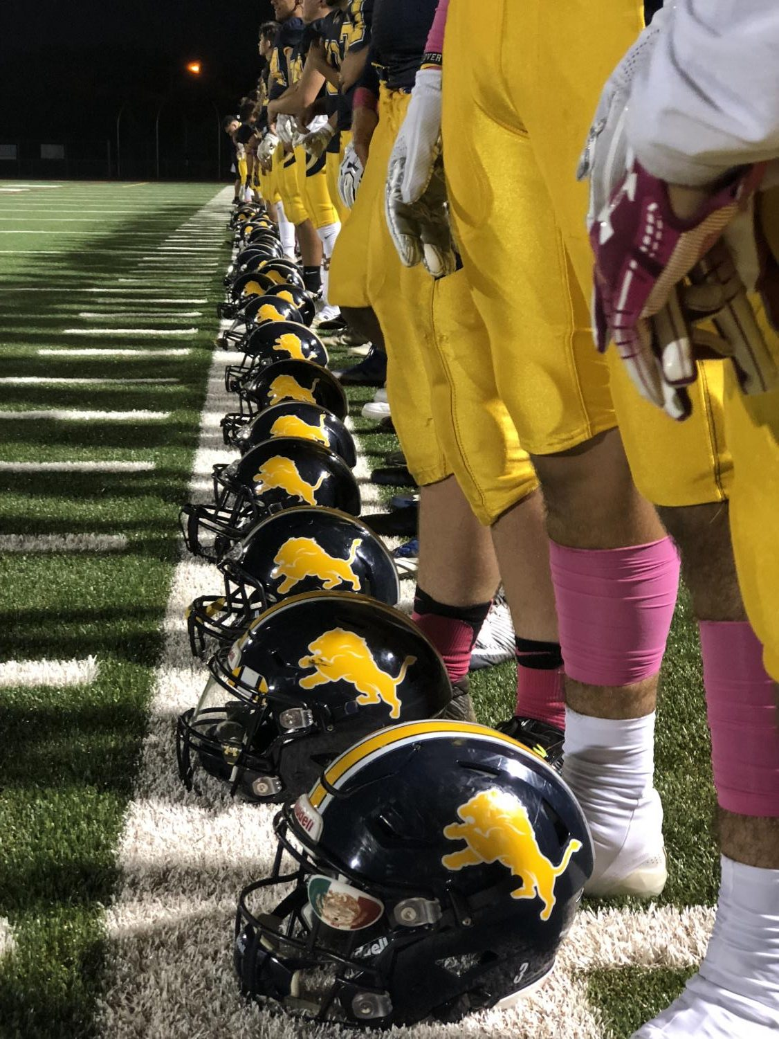 The Varsity Loins lined up for the National Anthem. On October 19th the Lions went Against the Acorns. The Lions won Final score 27-24.(Anastasia Cervantes / Lincoln Lion Tales)