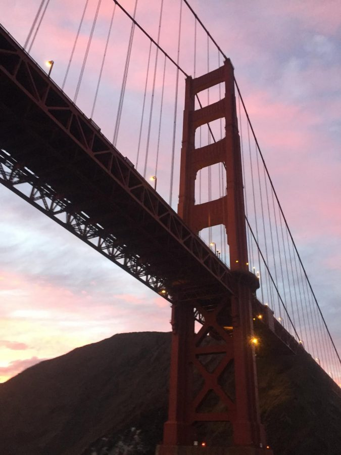 The Golden Gate Bridge in San Francisco at sunset, picture taken during a cruise (Jennifer Schwarz/Lincoln Lion Tales)