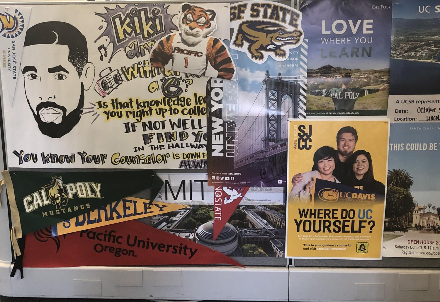 Posters from community colleges and universities found in the Lincoln Center (Lincoln Lion Tales/ Sharilyn Munoz).