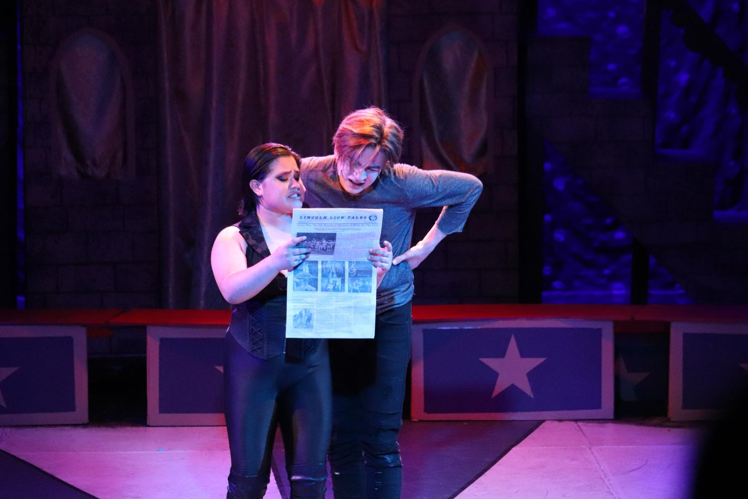 Rachel Rivera acting as Leading Player in PIPPIN with Co-Star Charles Lockwood playing Pippin. (Nayeli Campos for Lincoln Lion Tales)