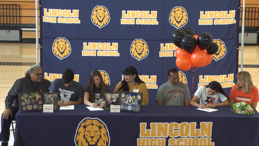 Three Lincoln Students committing to their colleges. (Isidro Vargas, Adrien Uribe/ Lincoln Lion Tales)