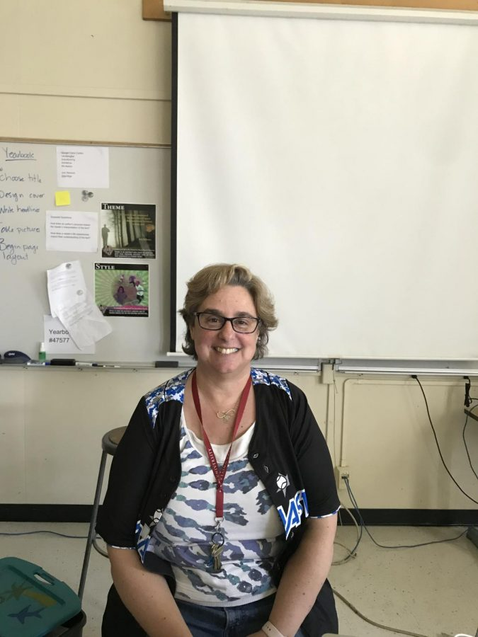 Mrs. Cohen posing in her classroom. (Anjanai Vallez/ Lion Tales)