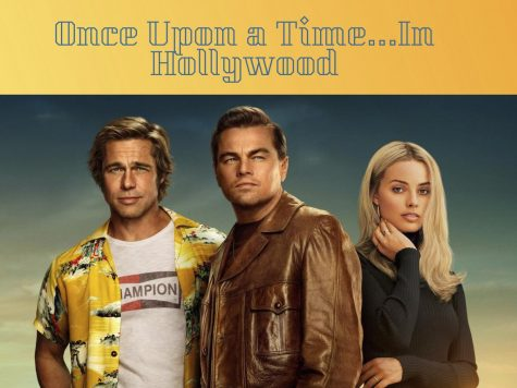 Cliff Booth (Brad Pitt), Rick Dalton (Leonardo DiCaprio), and Sharon Tate (Margot Robbie)