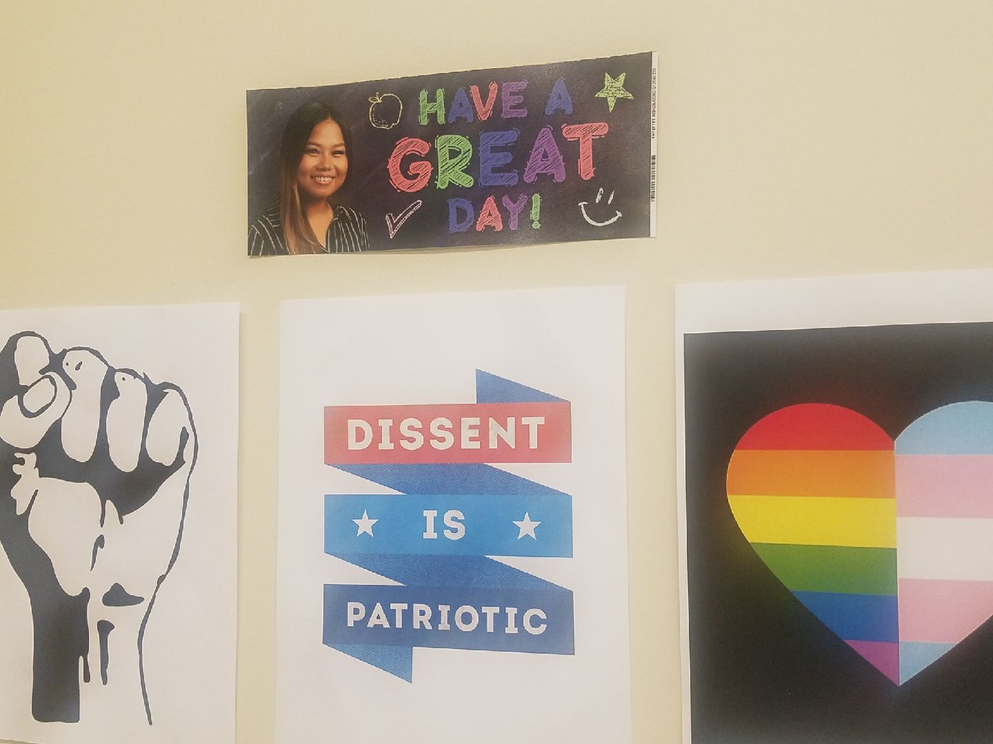 Ms. Doan's sidewall in her classroom with her picture on it. (Natalie Sierra/Lion Tales)