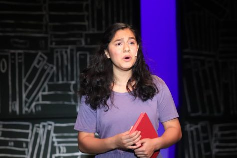 Miranda Rojasa playing the lead role as Matilda. Matilda the Musical is a Lincoln play for Fall 2019. November 7, 2019 Located at the Black Box Theater (Lion Tales/Andrea Saldana).