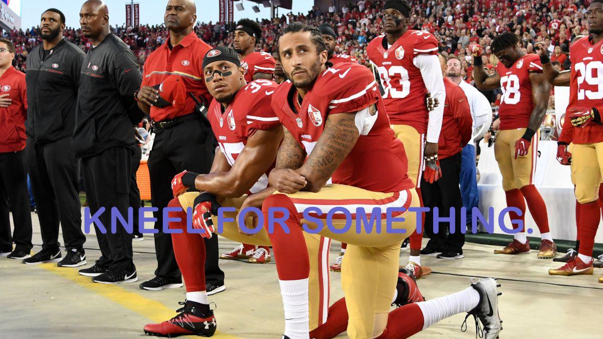 Colin Kaepernick and teammate kneeling for Black Lives matter movement during national anthem.