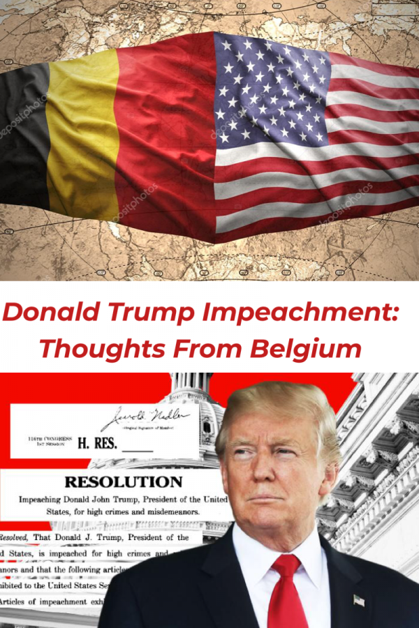 Collage of Donald Trump and the flag of Belgium next to the one of the United States.  (Tabatha Menten/Lincoln Lion Tales)