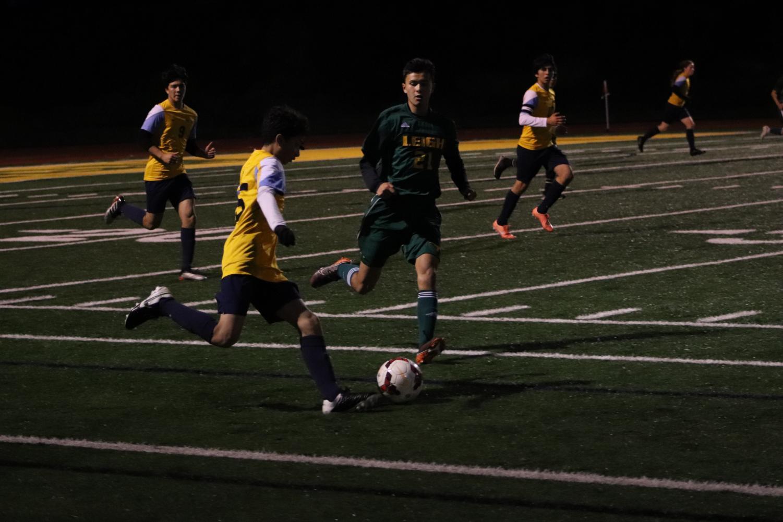 Lincoln boy's varsity soccer team playing against Leigh High School. January 16, 2020, Located at Leigh's football field (Daniela Navarro).