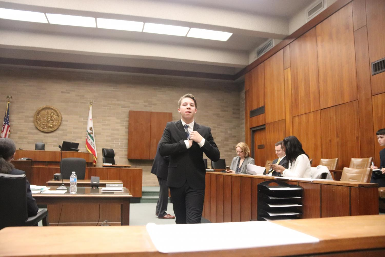 Carter Fein walking inside the court room. Located at Santa Clara County Superior Court (Angela Chan).