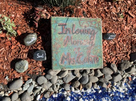 "Stones with hopeful words on them in ""Garden of Hope"" (Ariana Noble/Lion Tales)."