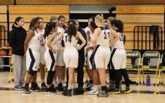 Girls varsity basketball team huddling up. Located at the Lincoln Gym (Isaiah Sedano).