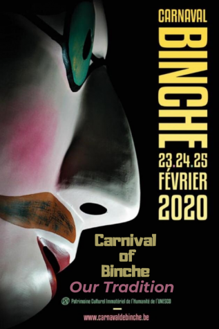 Carnival of Binche 2020, official poster with the traditional mask wore on Tuesday morning. (Tabatha Menten/Lincoln Lion Tales)